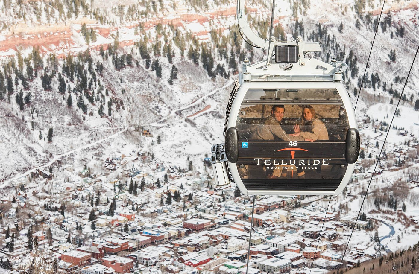 The Telluride Gondola that is free to take back and forth to Mountain Village.