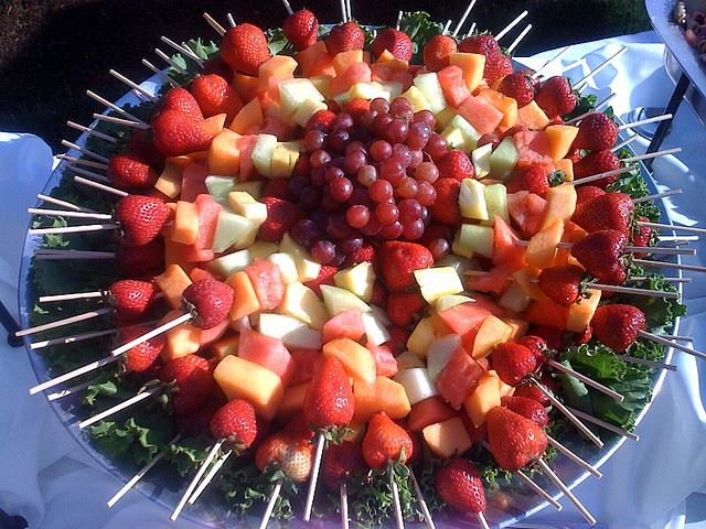 Unique salad and fruits plates perfect for any event.