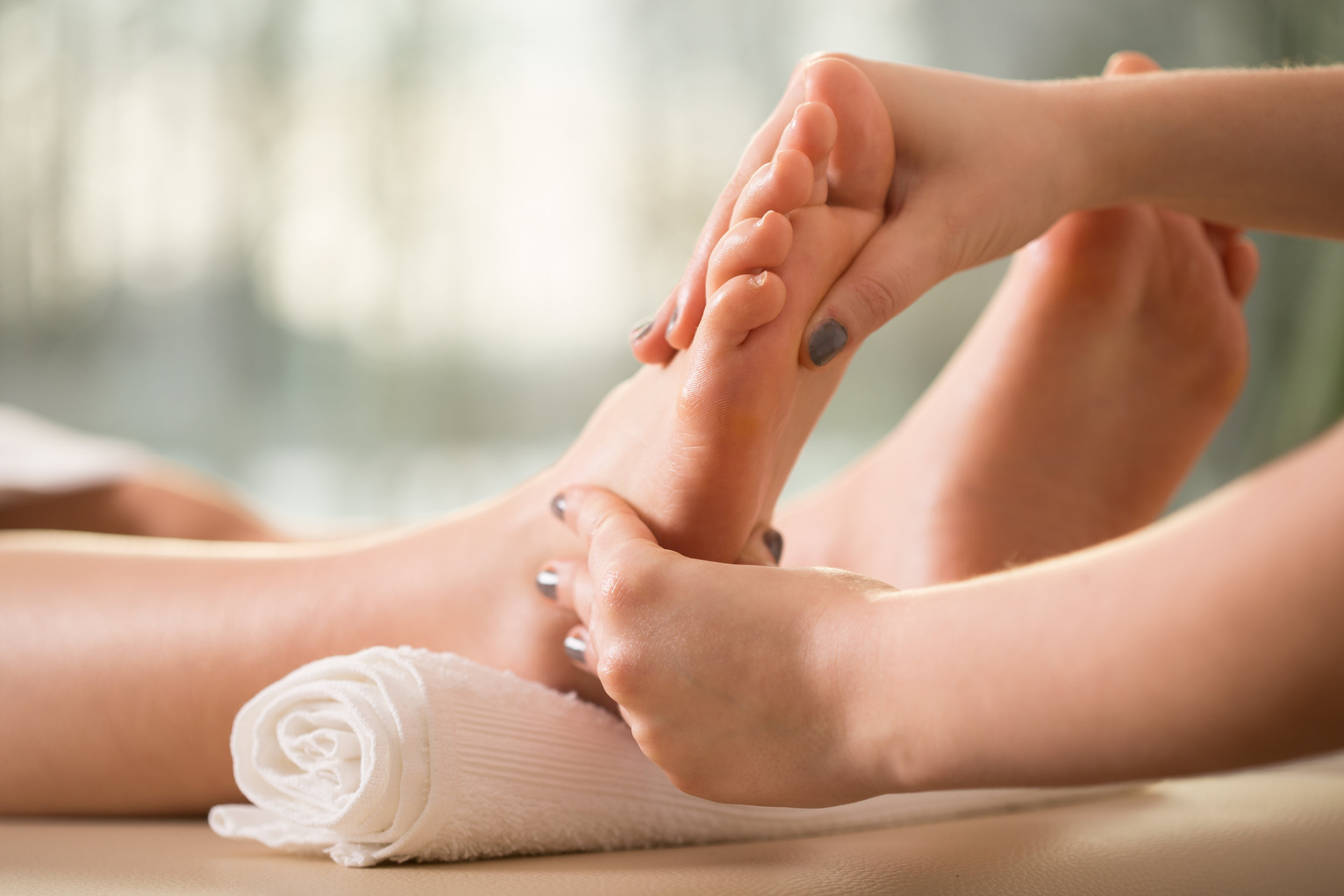 Reflexology - This is a treatment performed on the feet to help unblock energy channels within the body and promote balance and calm within the body. Using a combination of gentle manipulation and pressure points to benefit the client physically and emotionally. This treatment can help ease muscular pain from around the body and stimulate the body's endorphins which is a natural pain killer.60 mins =£47.00