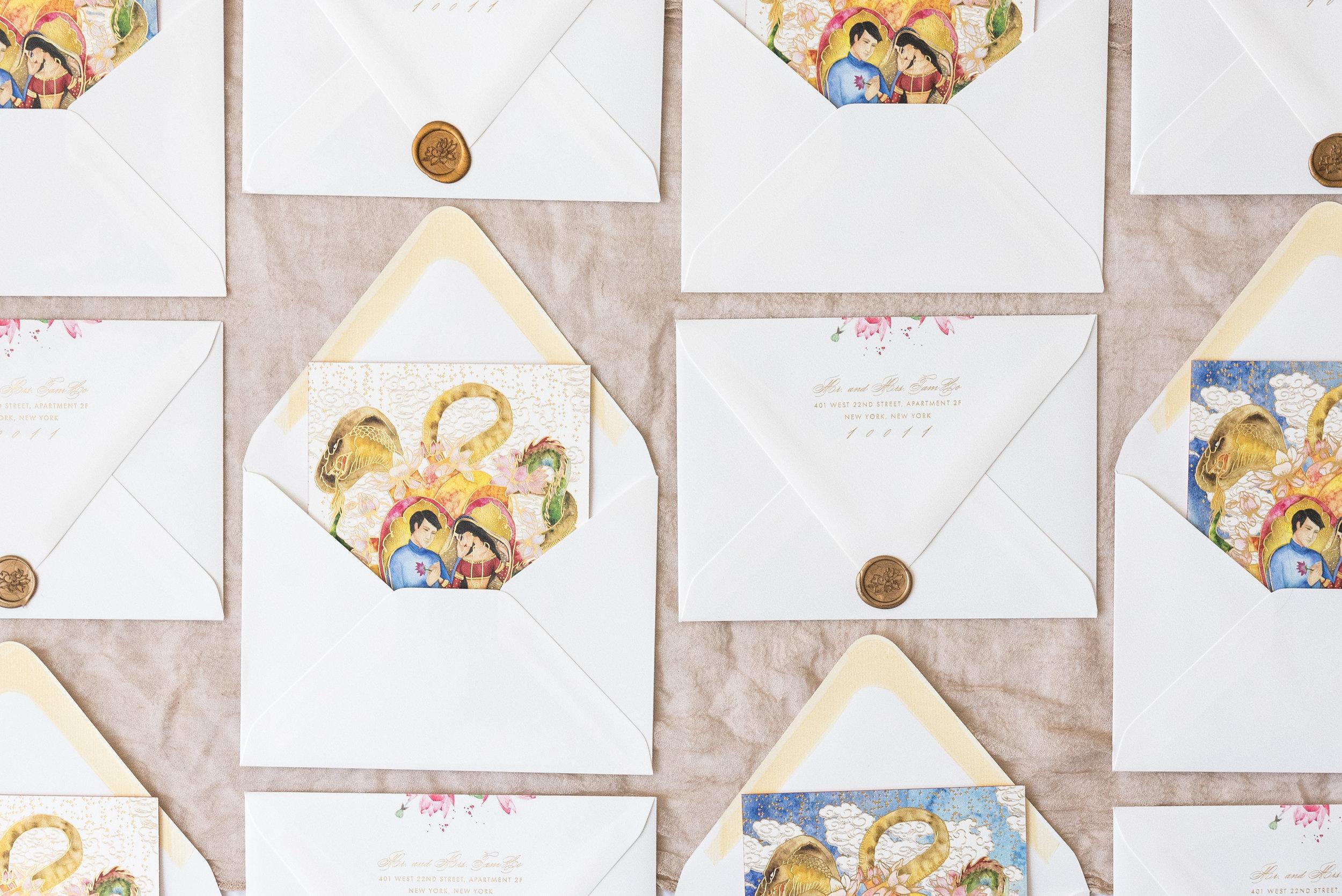 Vidhi-Dattani-Announcement-envelopes-wax-seal.jpg