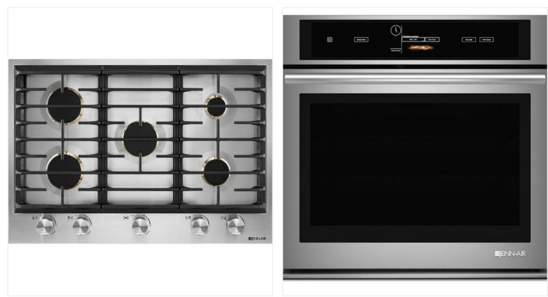 """5-burner 30"""" built-in cooktop with the single 30"""" wall oven"""