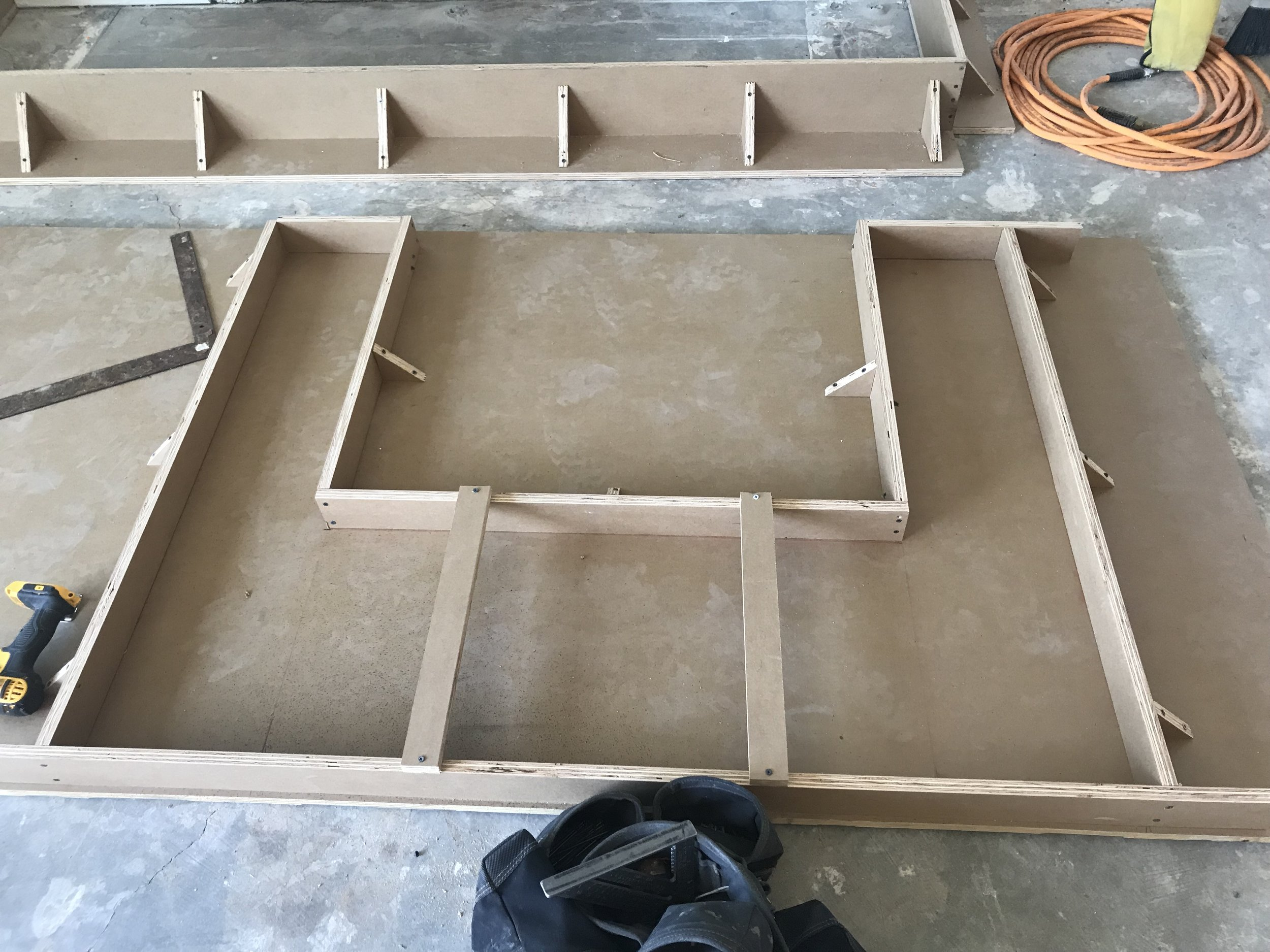 A mold was created to size to aid the concrete in taking form