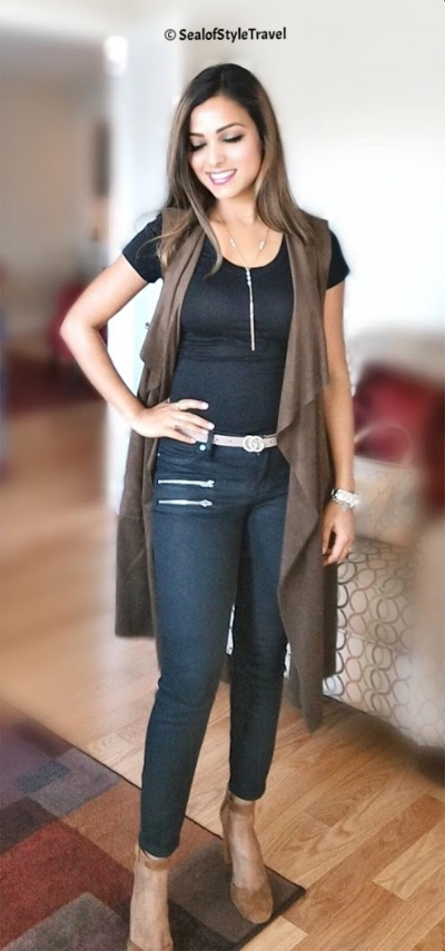 Sleeveless Suede Jacket from Le Tote