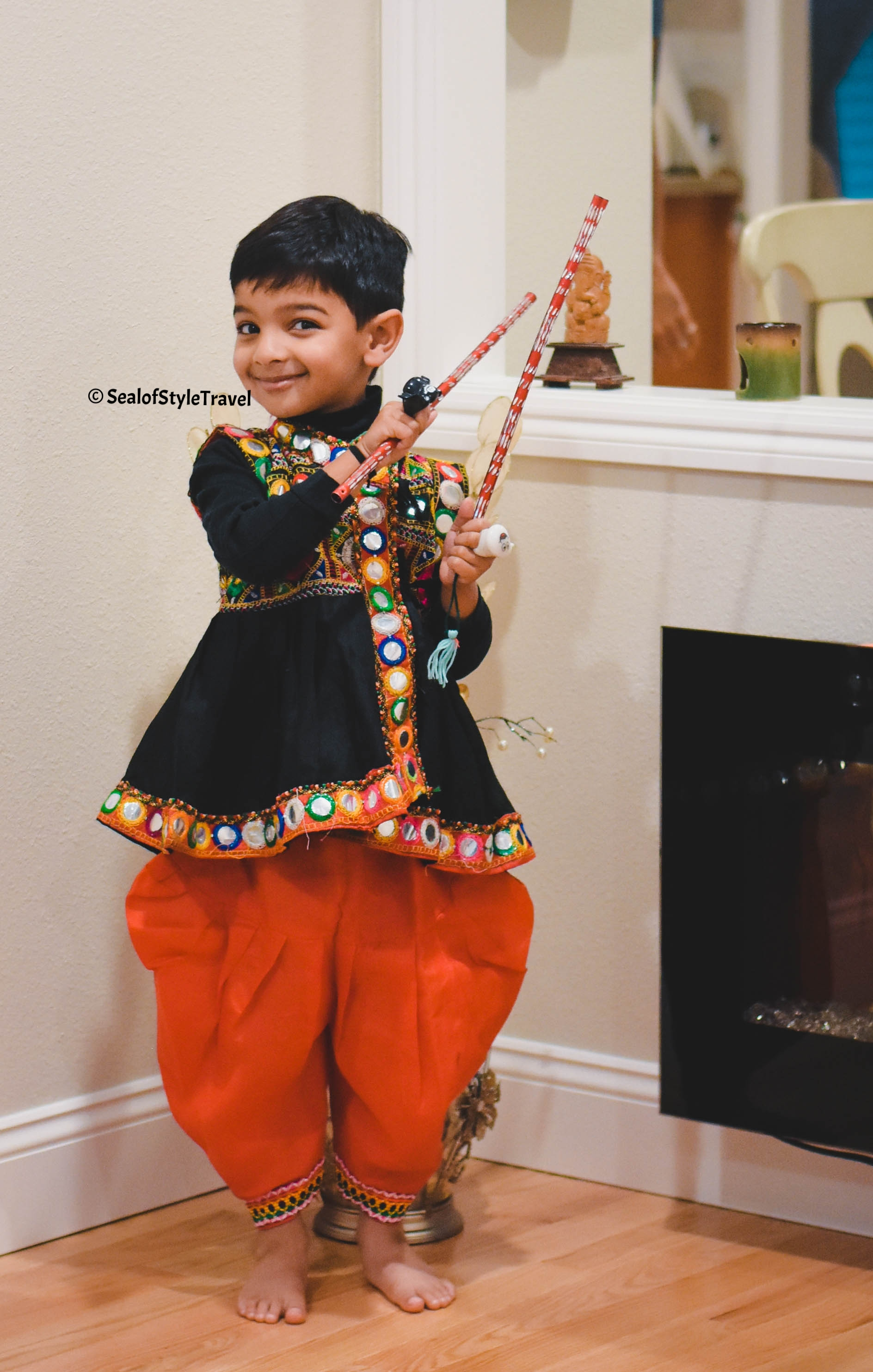 My little monster looking super cute in traditional outfit. This was gifted by a dear friend.