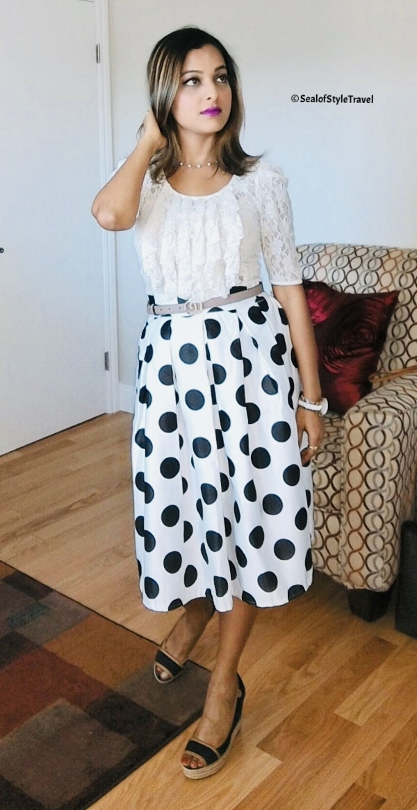 Polka dot skirt from Gracia. Click on the picture for similar skirt