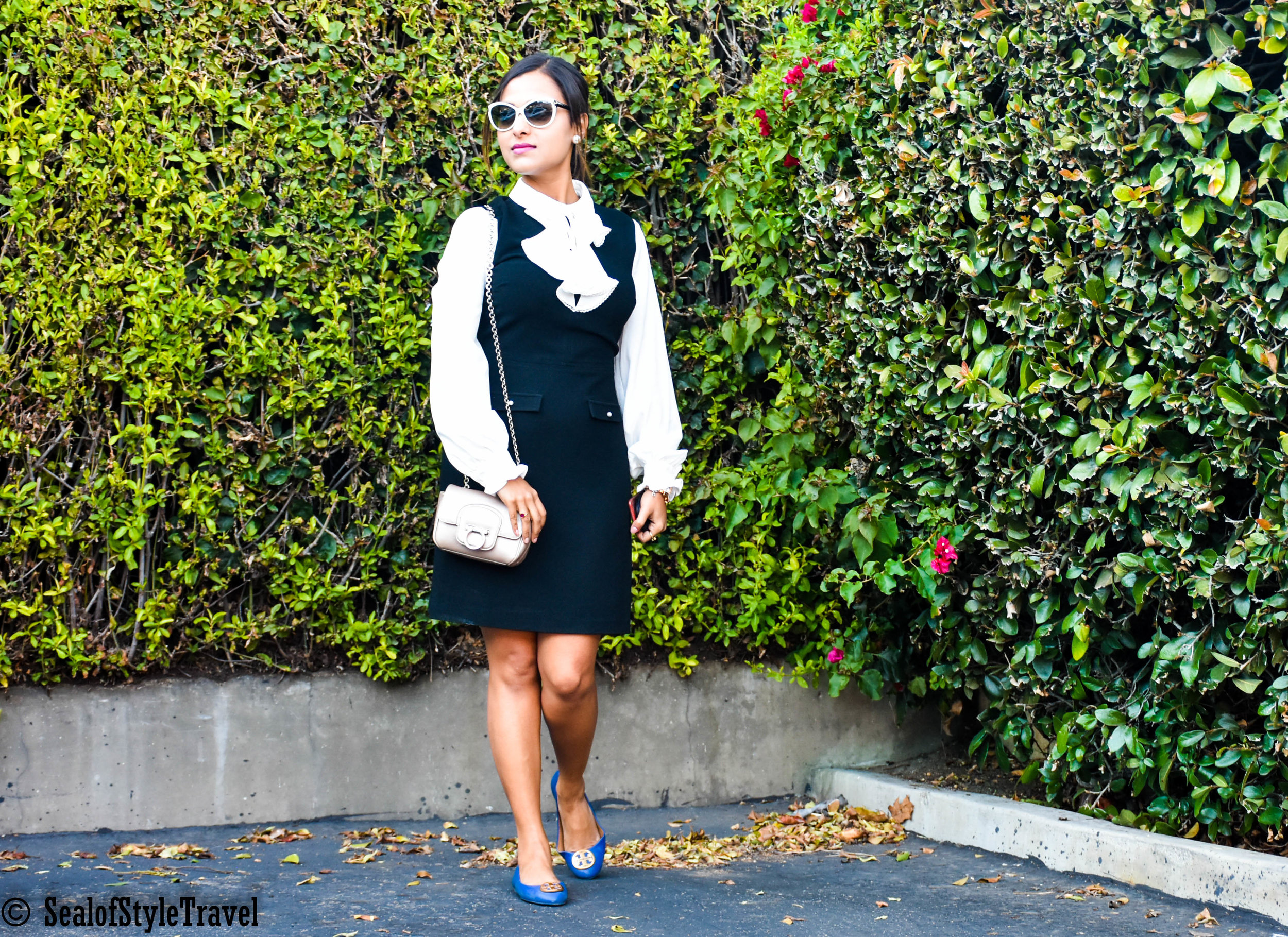 Ruffle Dress- Nordstrom (click on the picture)   Sunglasses  - Tom Ford   Shoes - Tory Burch