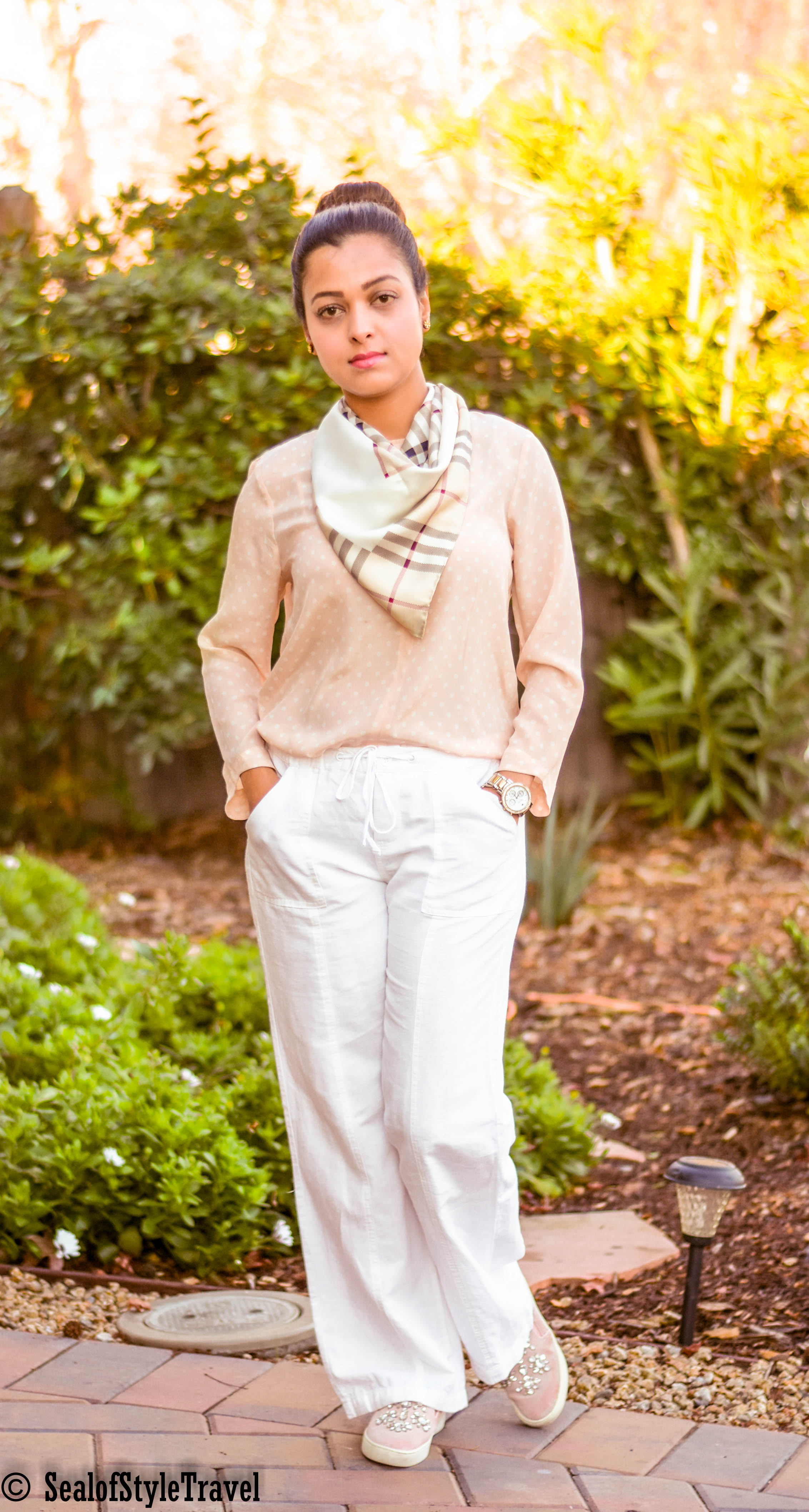 Top- click for similar ,  Pant- Old Navy ,  Scarf- Burberry ,  Shoes- Michael Kors