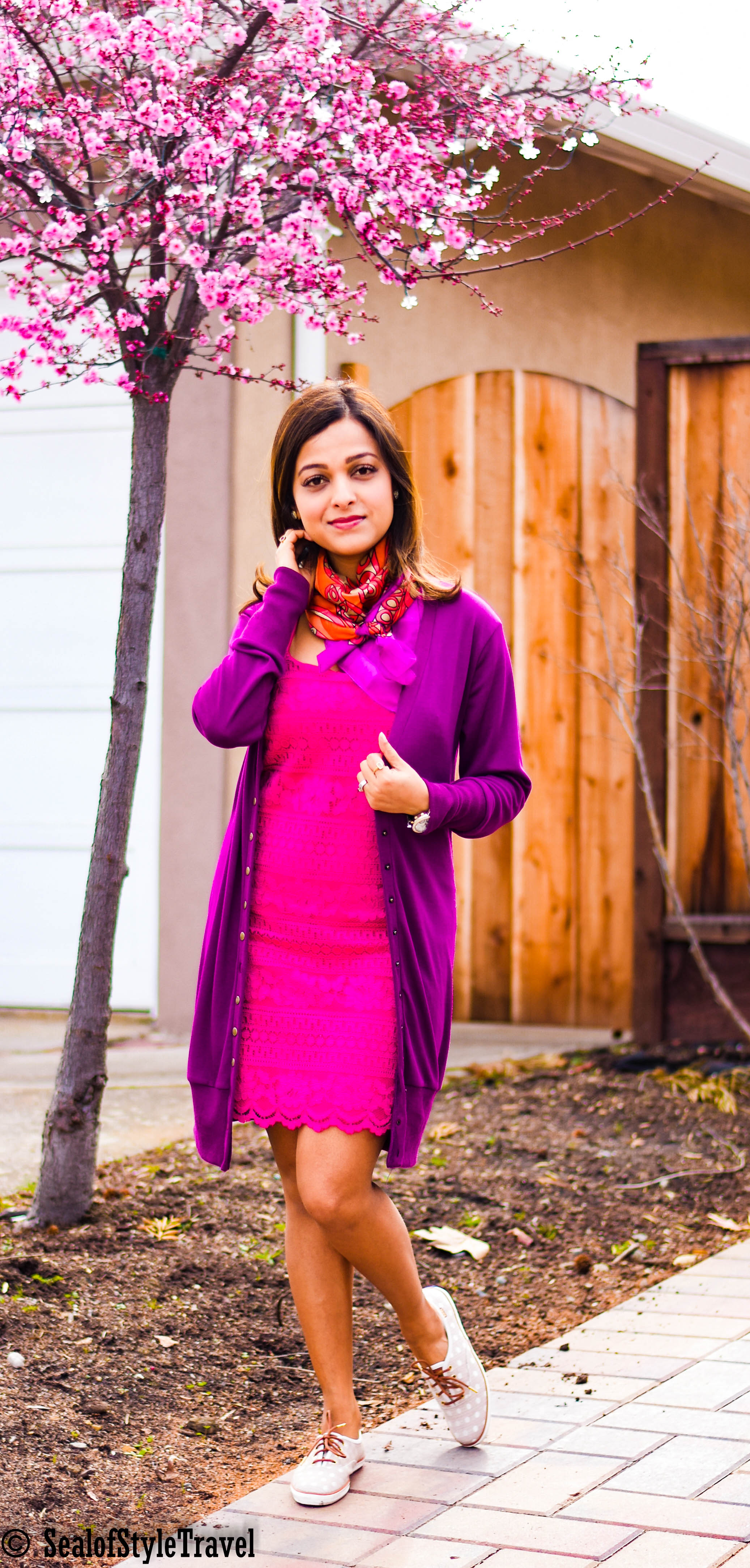 Dress- Le Tote ,  Cardigan- Amazon ,  Scarf- click for similar ,  Shoes- Keds