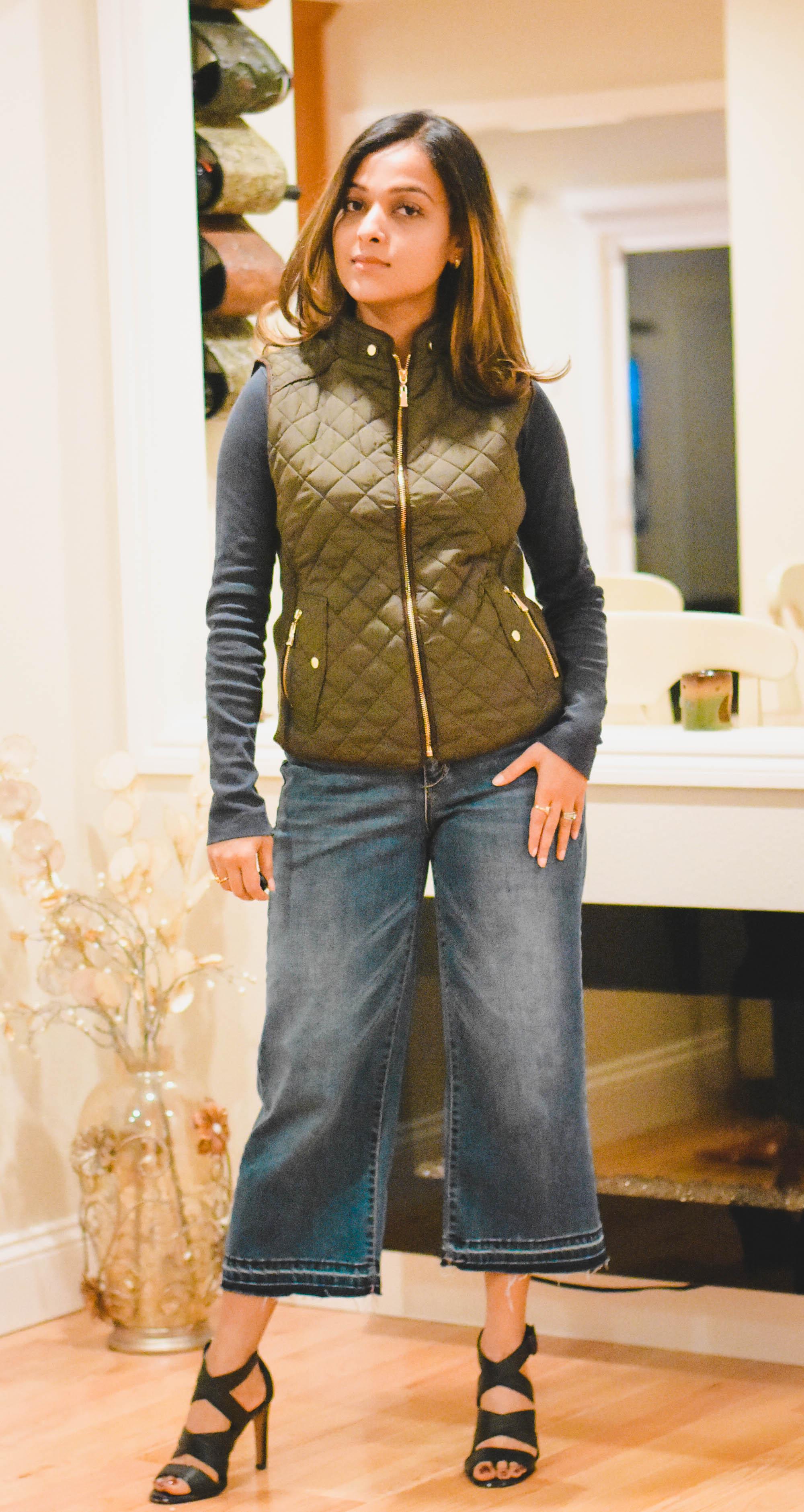 Vest- Amazon ,  Culottes- Forever 21 ,  Sandals-Coach (click to shop similar)