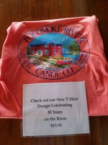 We're celebrating 35 years on the river! Our new t-shirt design features a colorful rendition of our building on the Pocomoke River. Shirts are only $15.95 each ($17.95 for XXL). Stop in and get your today.