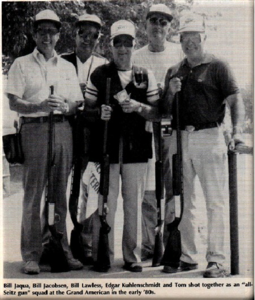"""Tom Seitz and Bill Jacobsen with their squad at Vandalia, Ohio.""(photo courtesy of Trap and Field Magazine"