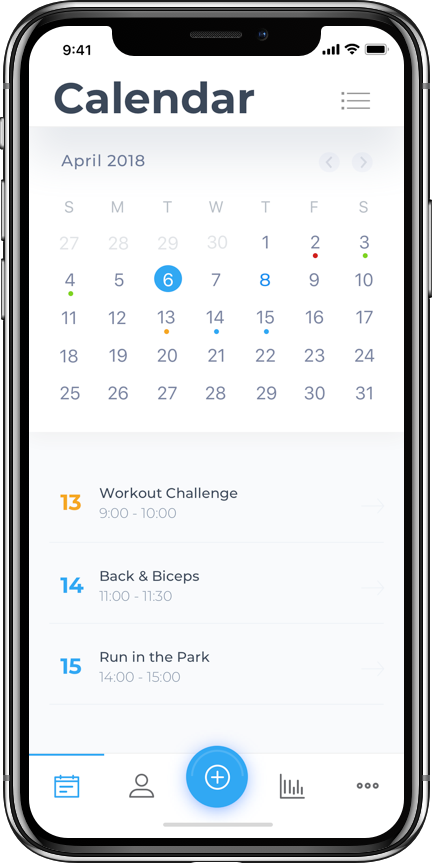 Calendar - keep track of all your workouts