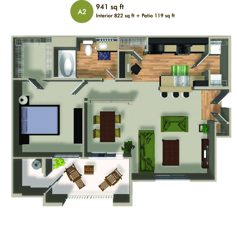 941 square foot floorplan