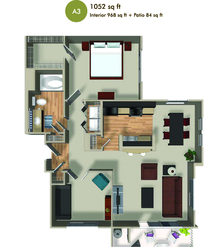 1052 square foot floorplan