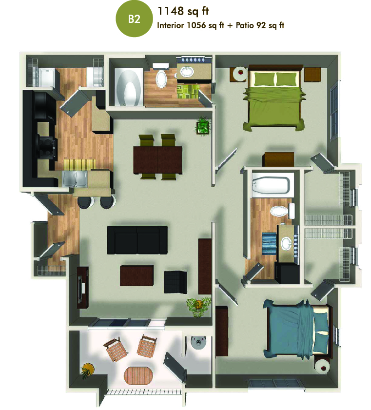 1148 square foot floorplan