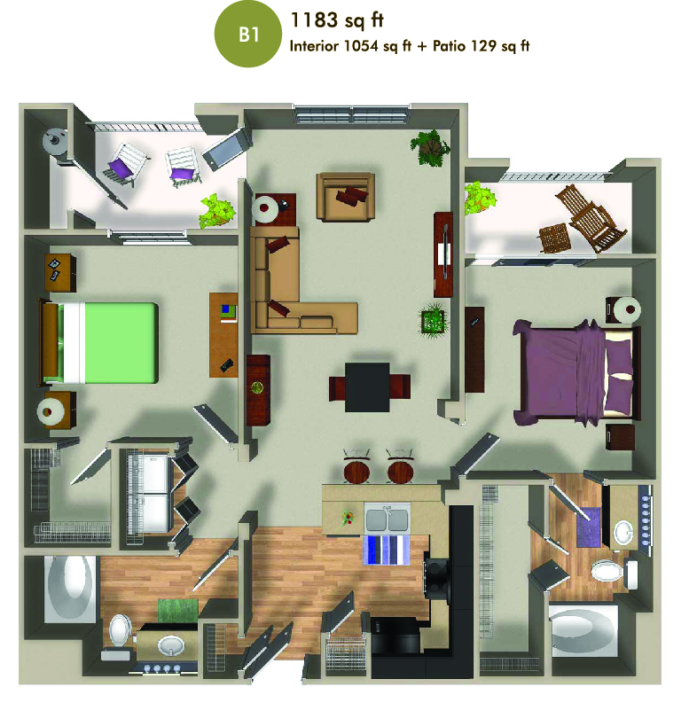 1183 square foot floorplan