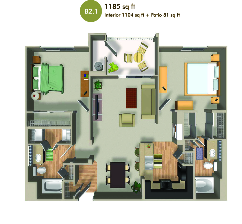 1185 square foot floorplan