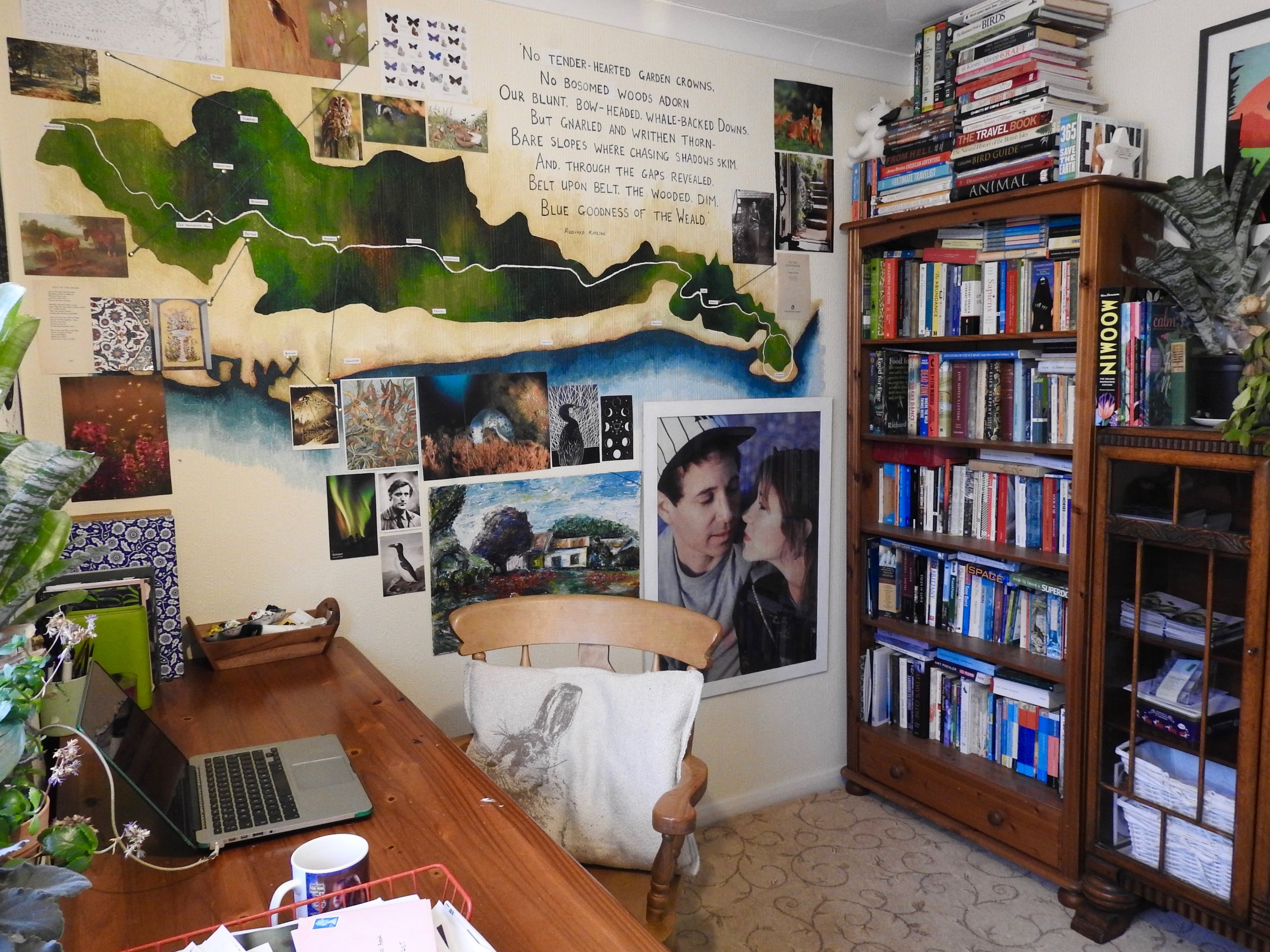 My studio! Decorated with a map of the South Downs - my main source of inspiration…