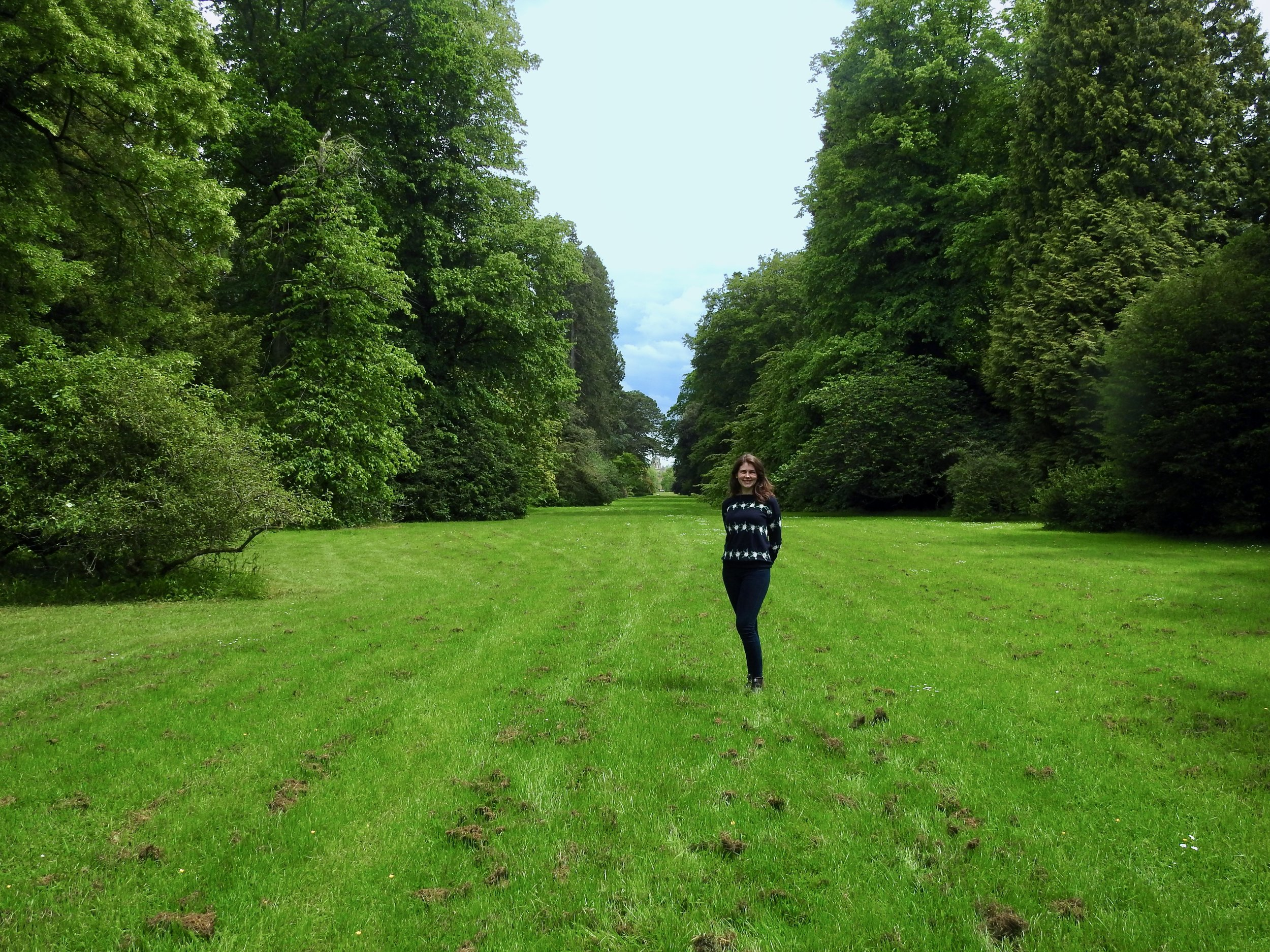 Standing on one of the 'rides' leading up to Westonbirt House, with the tallest tower in the distance!