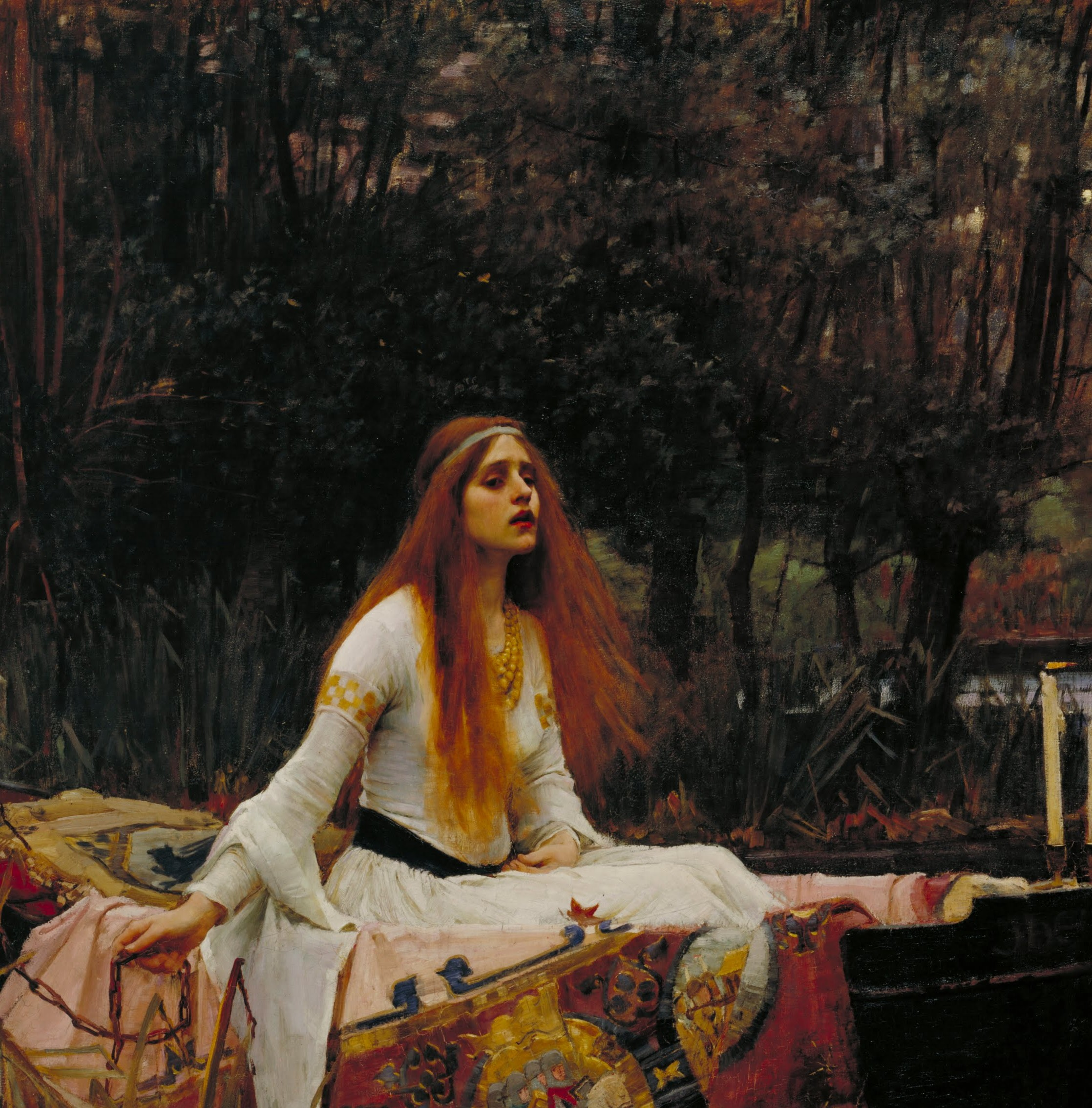 John William Waterhouse's  The Lady of Shalott  (1888), currently on display at Tate Britain