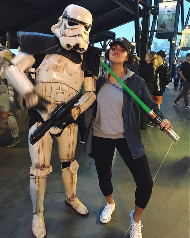 """Always remember, your focus determines your reality."" -Qui-Gon Jinn. Qui-Gon knows was up! What you think about you bring about baby!💪🏼 The force is strong with this one. My friends, MAY THE FOURTH BE WITH YOU! Throwback to last year's May 4th M's game with @s_cecilia_87 ⚾️💙💚😊 #maythe4thbewithyou #lightsaber #barelyknowher #urrghhhchajsbdhhsbabshavsbauheh #chewbaccanoises  #starwarslifeadvice #bestillmyheart"