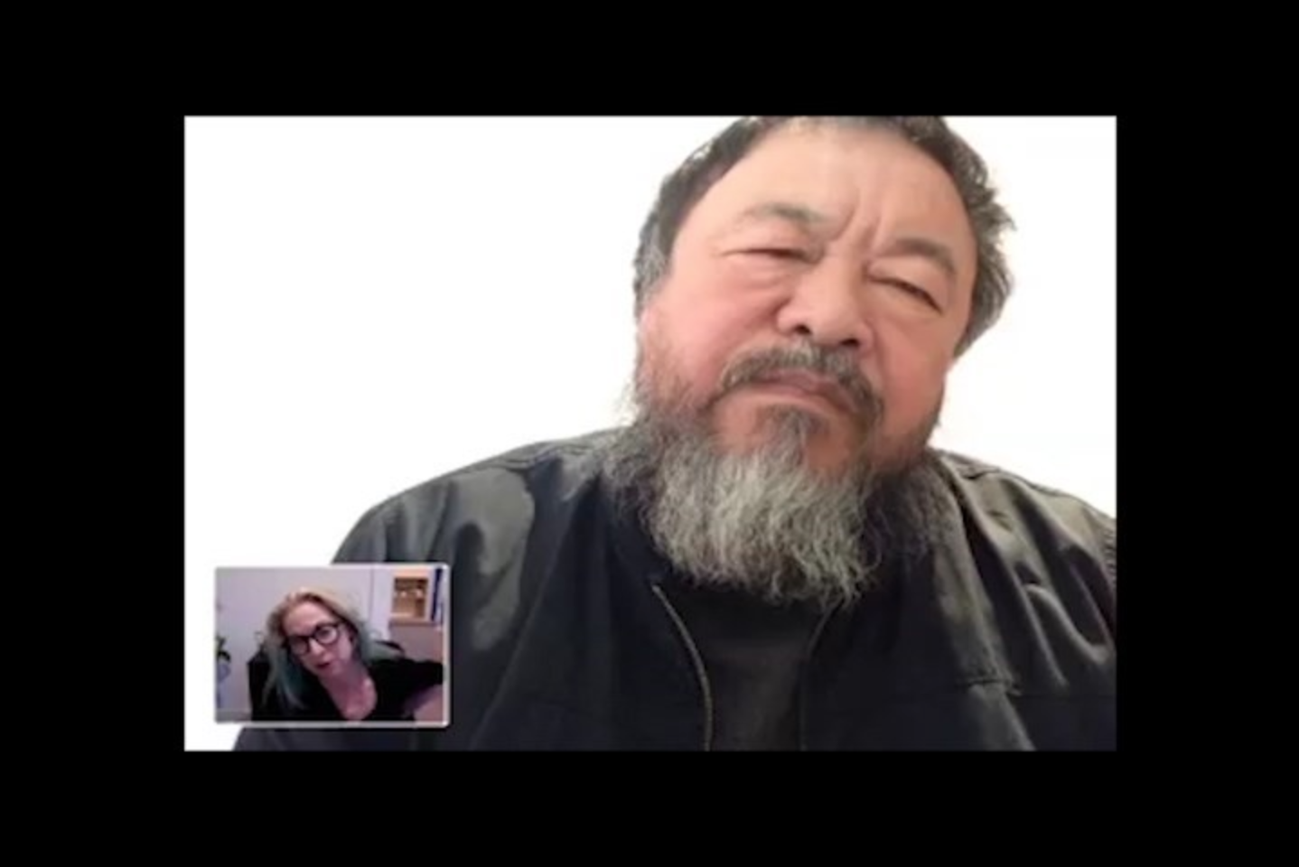 Director Cheryl Haines (bottom left) video chats with Ai Weiwei (top right)