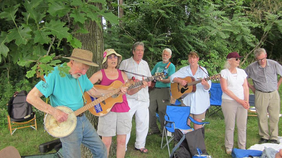 With Pete Seeger and friends at the Peace Vigil, Corner of Routes 9 and 9D, Fishkill NY.