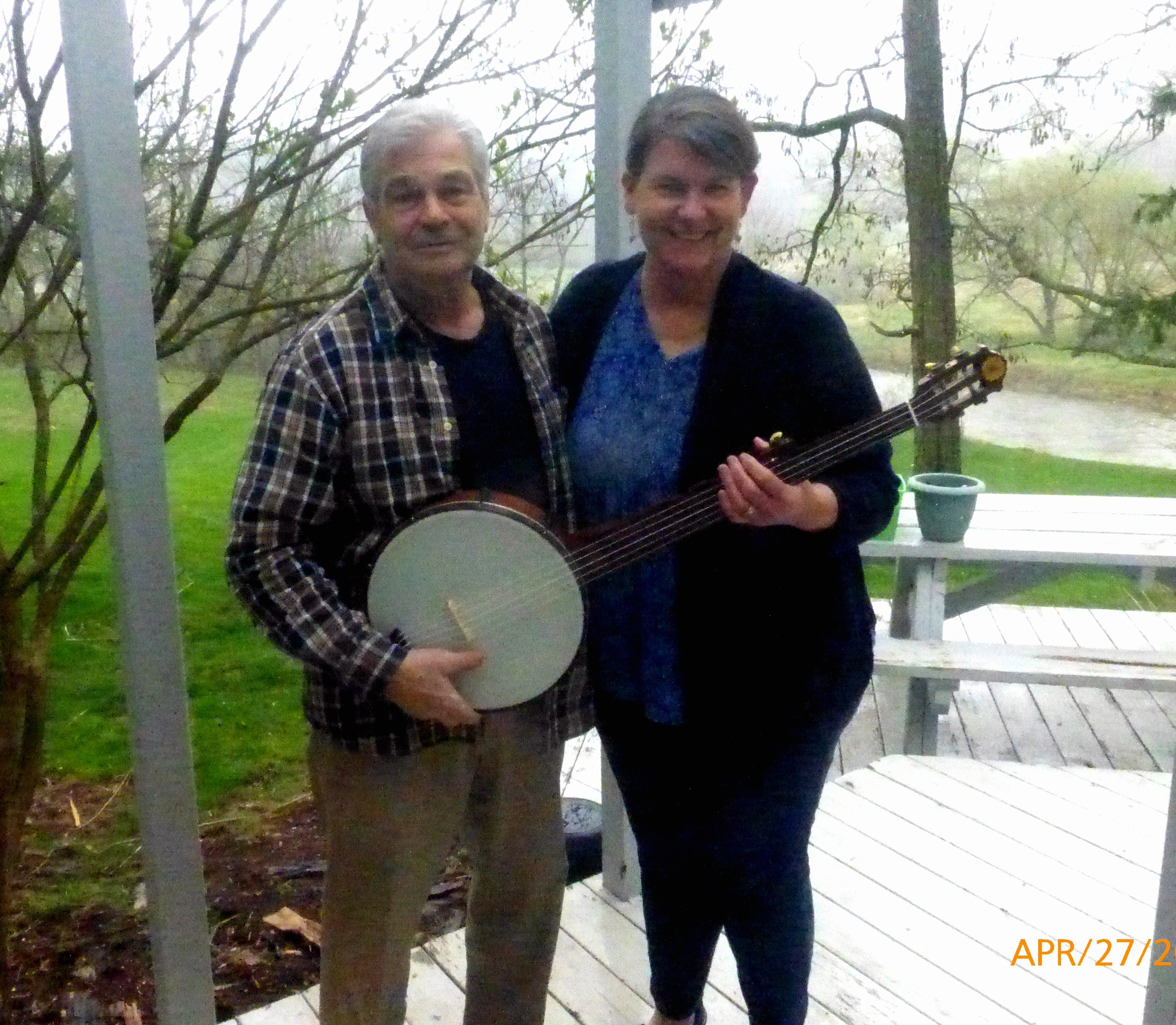 With Jim Hartel ~ and my replica Levi Brown 1858 minstrel banjo, made by Jim Hartel, Franklin NY.
