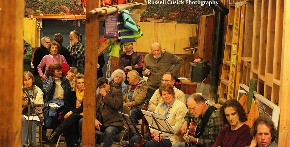 With Pete Seeger and friends at the Beacon Sloop Club First Friday meeting, Beacon NY.