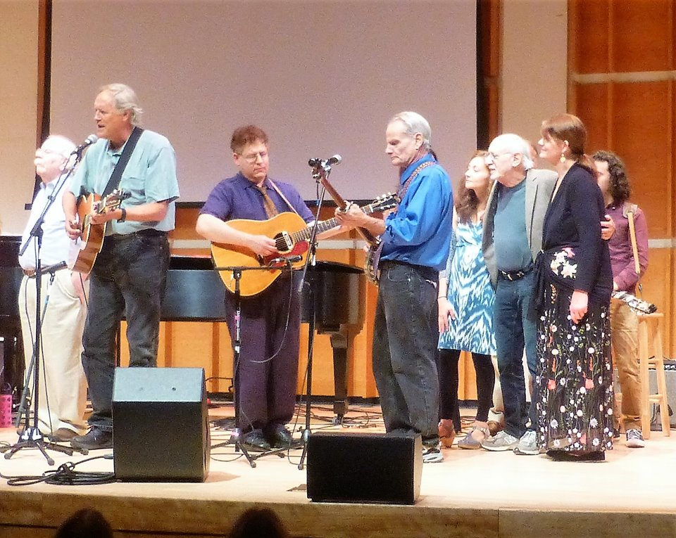 With Peter Yarrow, Noel Paul Stookey, Tom Chapin and friends at the tribute for Fred Hellerman, Merkin Hall, Lincoln Center, New York.