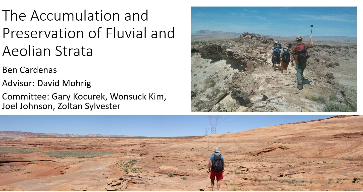 - The Accumulation and Preservation of Fluvial and Aeolian StrataPhD Talk, Jackson School of Geosciences Soft Rock Seminar, Austin, TX, May 6, 2019