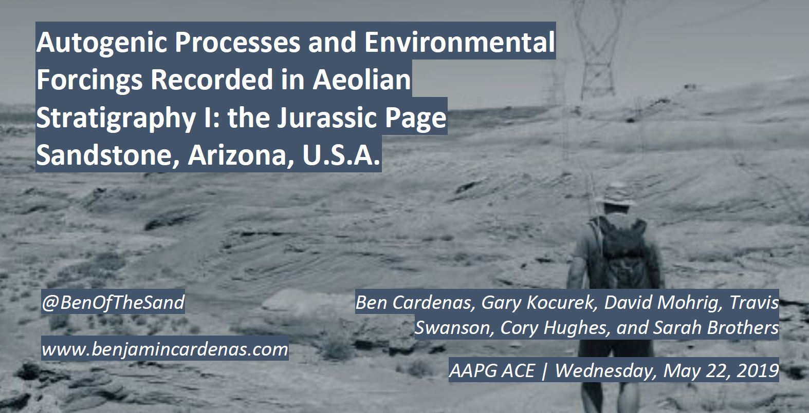 - Autogenic Processes and Environmental Forcings Recorded in Aeolian Stratigraphy I: the Jurassic Page Sandstone, Arizona, USAAAPG/SEPM Annual Convention and Expo, San Antonio, TX, May 22, 2019