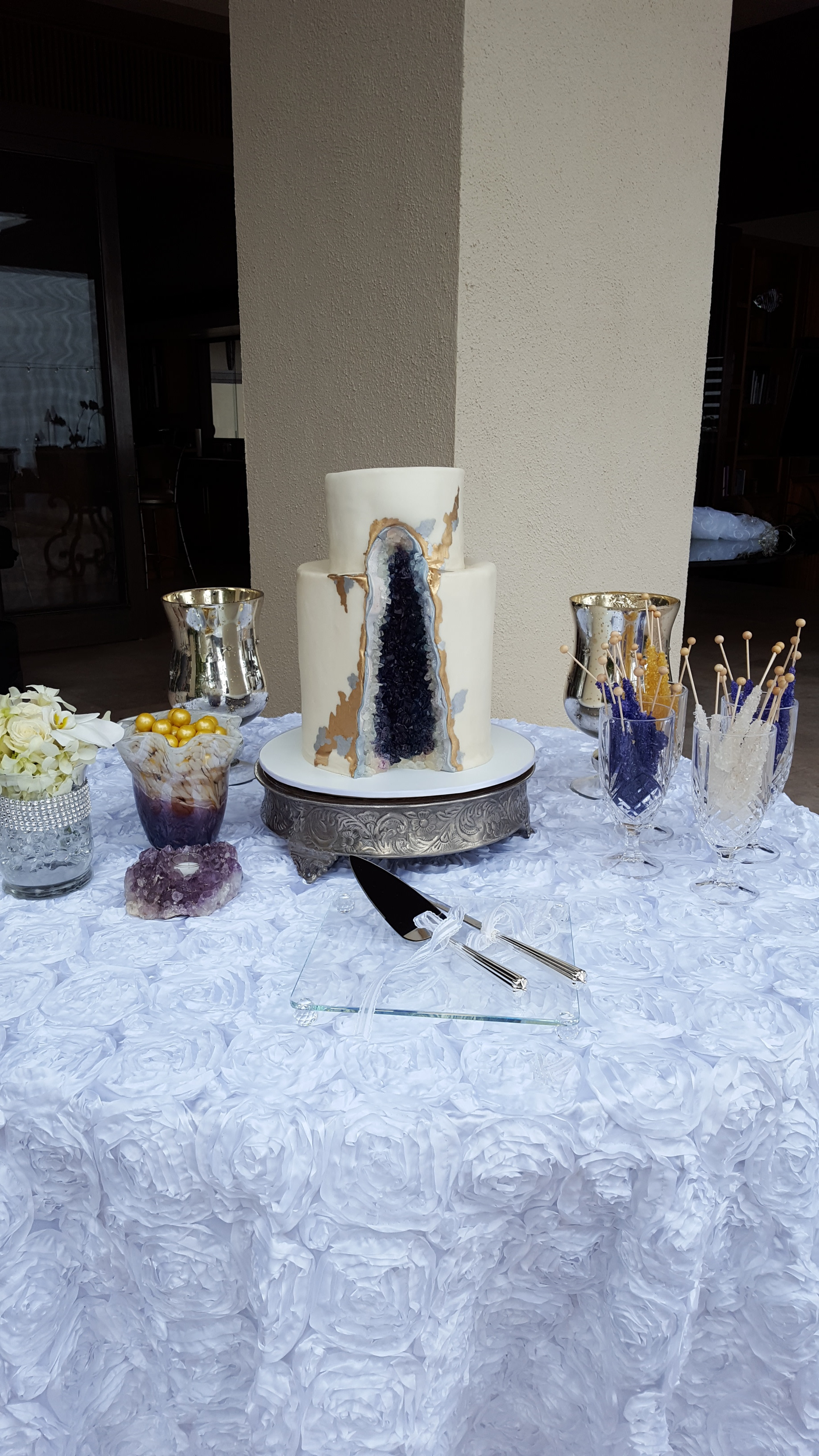 Copy of Two tier rolled fondant geode wedding cake Hilo Big Island Kailua Kona