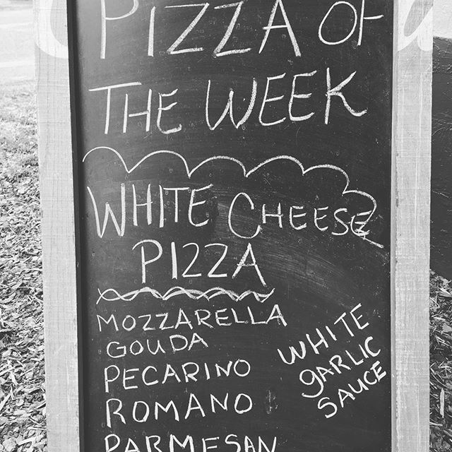 Come get it while the gettin is good!  White Cheese Pizza..... It's been a big seller this week. Running low on sauce.. should we make more sauce or not? Let us know?  #whitecheesepizza #cottontown #2150Sumter #ravereviews