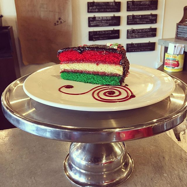 We can't turn water into wine, but we can turn this yummy dessert into a mid-day snack!  Our dessert special going into the weekend....Mmmm  Italian Rainbow Cake.... #2150sumterstreet  #dessertspecial #goesgreatwithrosé  #Italianrainbowcake #cittadelcotone