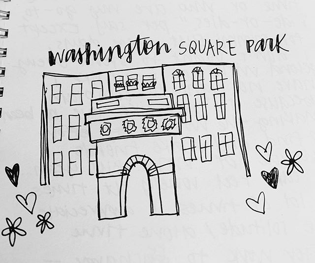 so I realize my rendition of the Washington Square Arch kind of looks like the lid of a Starbucks cup... but anyway, please enjoy today's doodle 🌸