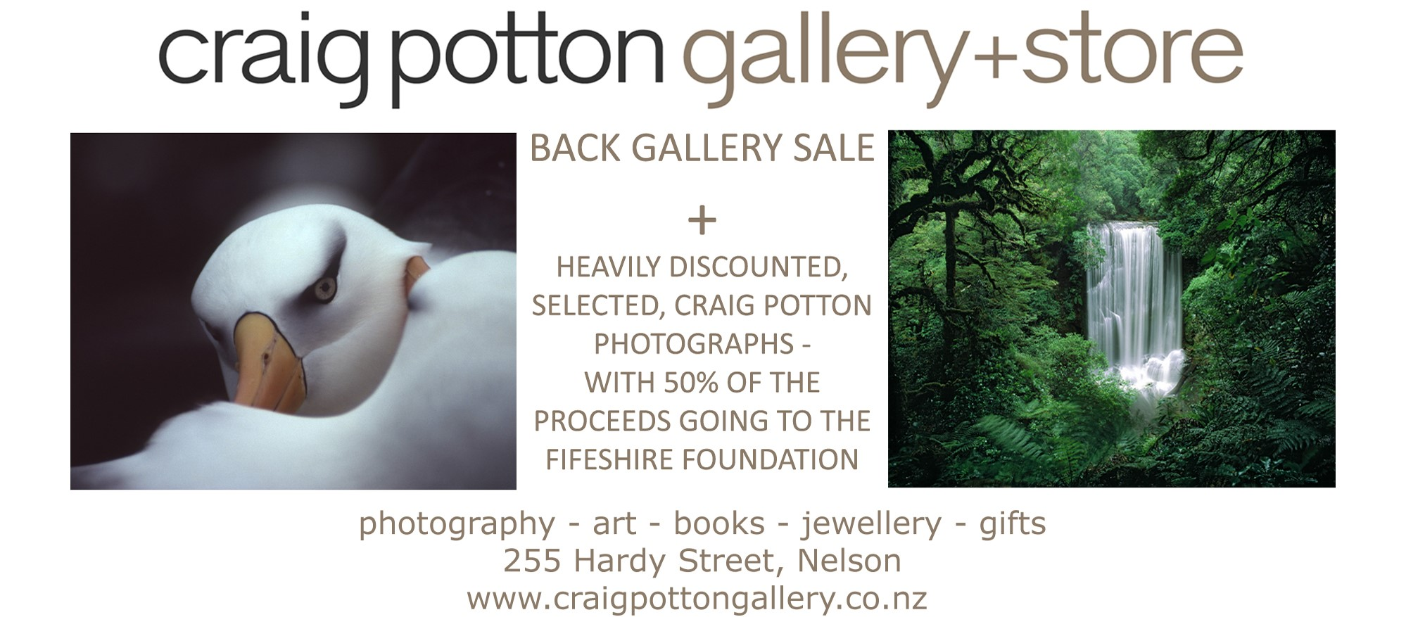 We are so grateful that Fifeshire Foundation has been chosen as the recipient of 50% of proceeds from the Craig Potton Gallery & Store back gallery sale. It is generosity such as this which allows us to continue helping locals in need.  Visit  https://www.craigpottongallery.co.nz/  to find out more