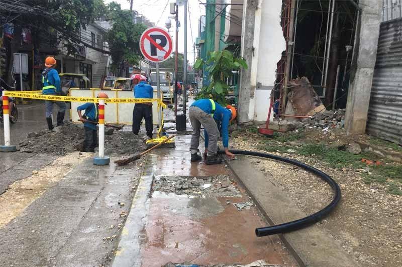 Major work on the island's water line, June 2018. Image  via .