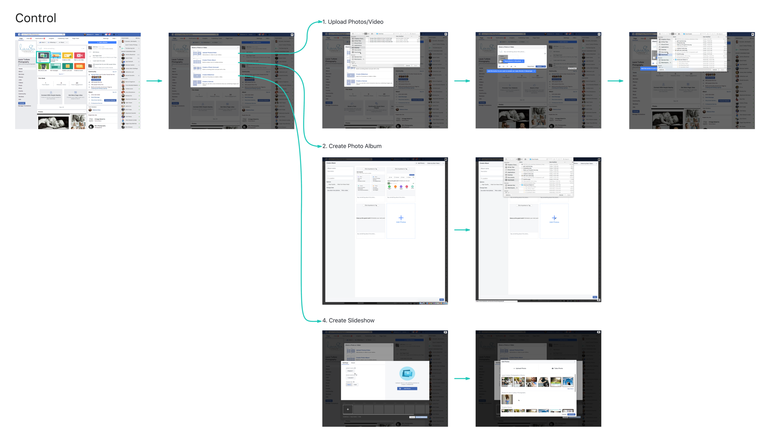 Flow of control experience: Before uploading a single image or video, Page Admin must select a format.