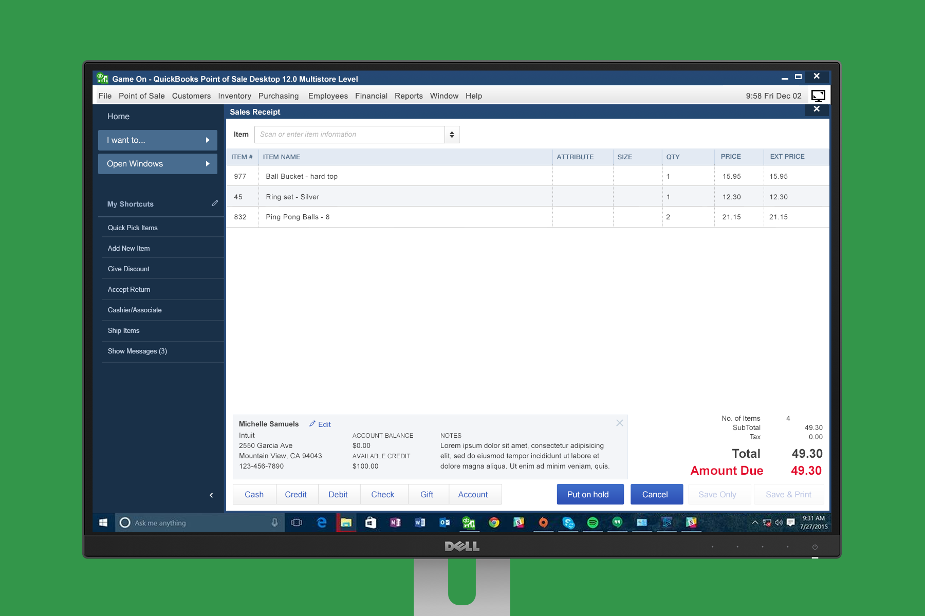 Make a Sale with my original visual design recommendation. I proposed using a similar style and color palette as QuickBooks Desktop and Online, which many POS customers use for accounting.