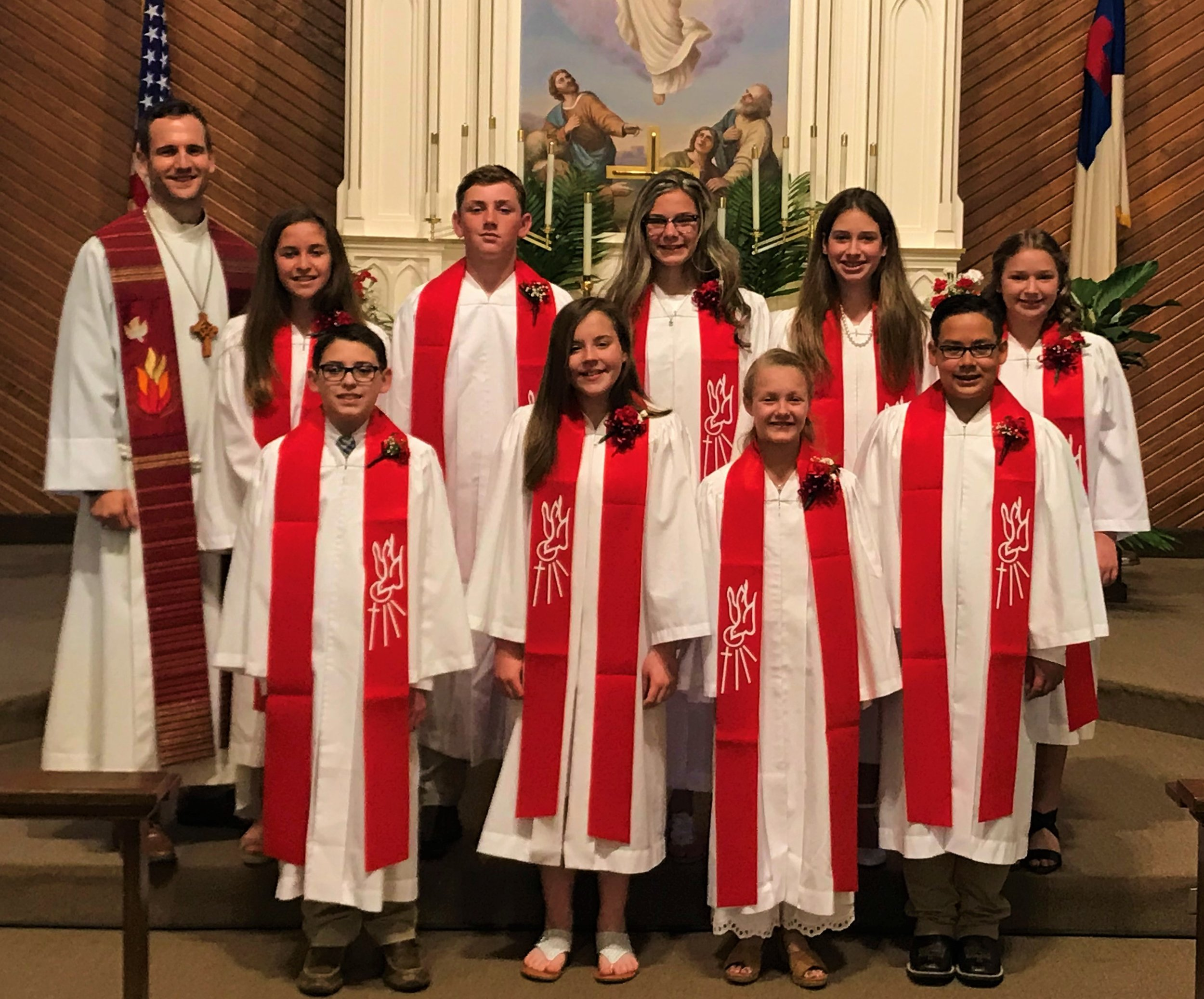 Back Row Left to Right - Pastor Aaron Kalbas, Jenna Frias, Jack Herzog, Emily Reeves, Madison Masek, Lily Churchman  Front Row Left to Right - Patrick Zieschang, Haleigh Moehling, Hannah Fisher, Nick Ramirez