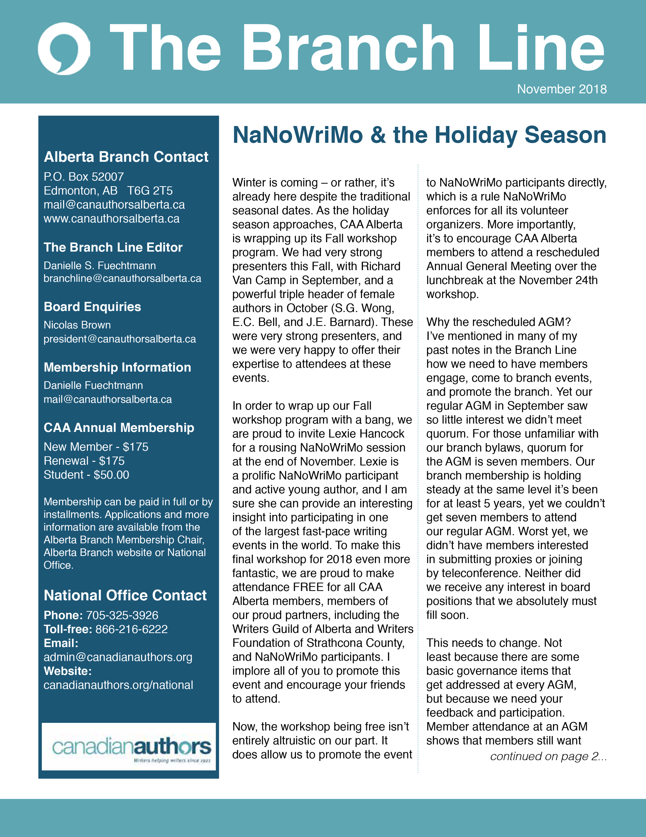 Click image to read this month's issue of Branch Line!