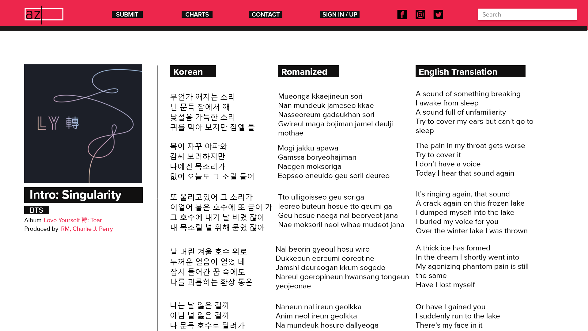 Redesigned lyrics page—lyrics in the original language (if applicable), romanized version, and English translation are organized horizontally so users can avoid scrolling a lot and so they can see translations side by side.