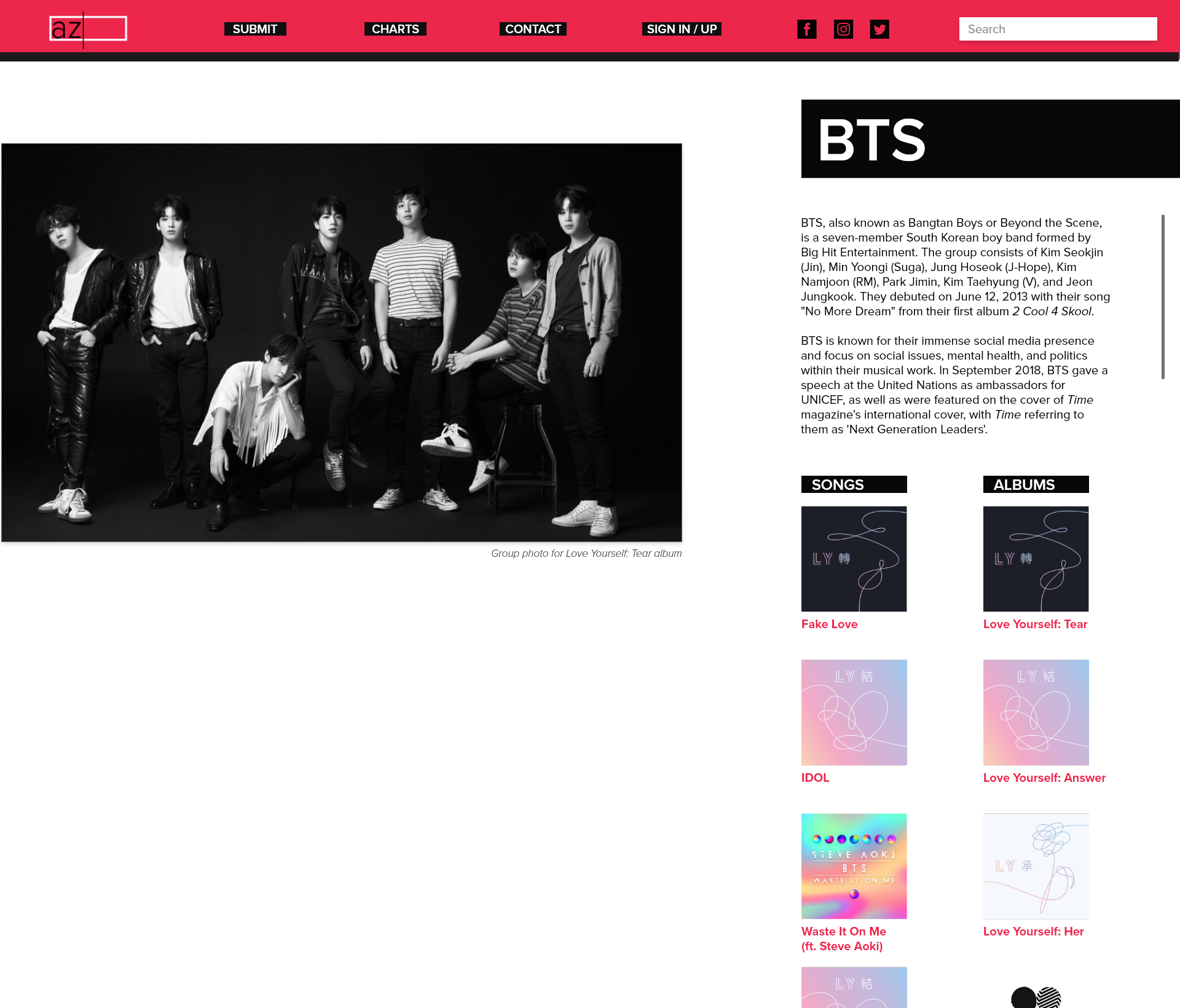 Redesigned artist page—a large, static photo of the artist(s) is provided on the left, while a short biography and list of the artist's songs and album are provided on the right column.