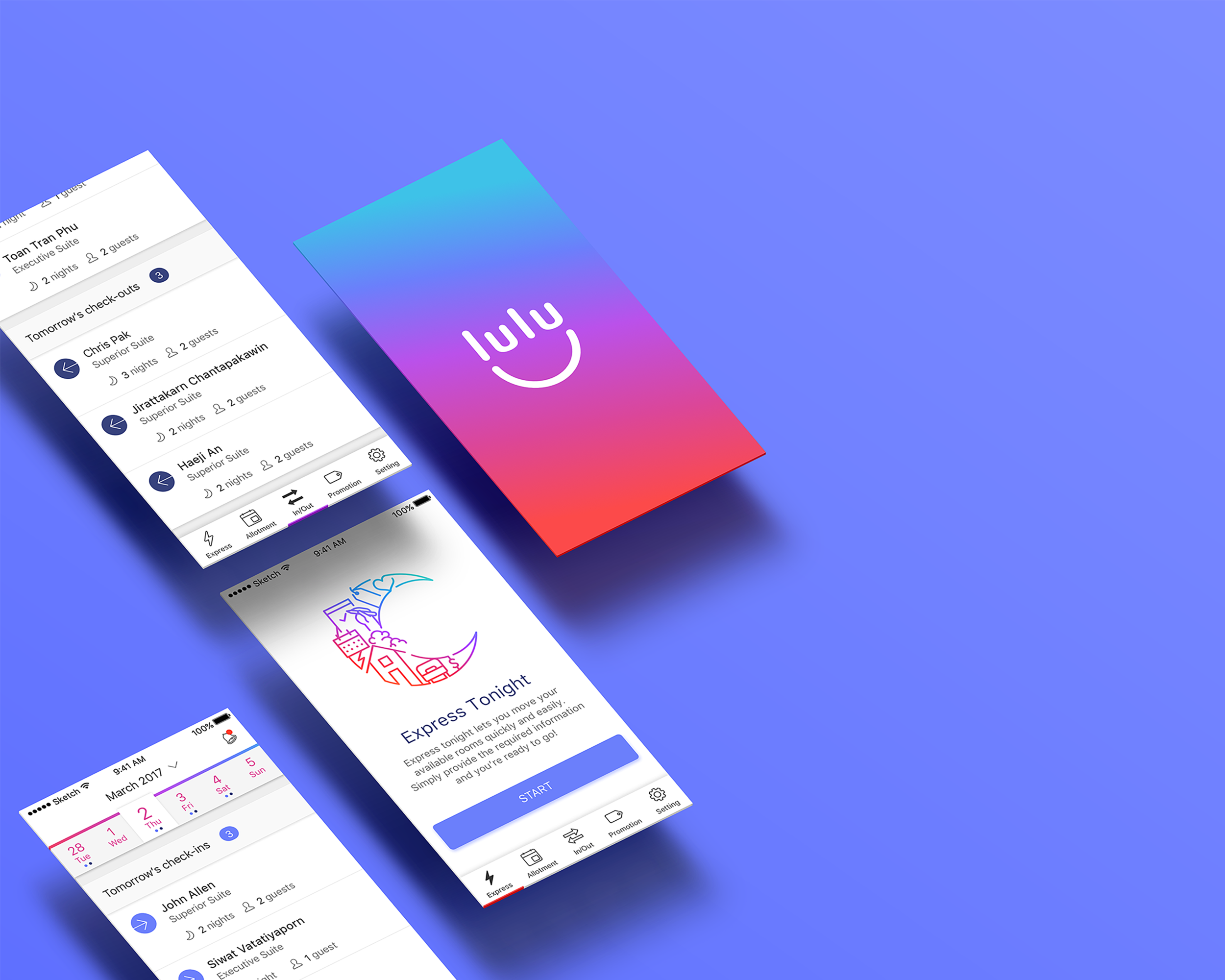 Lulu's screens depicting product features and capacities.
