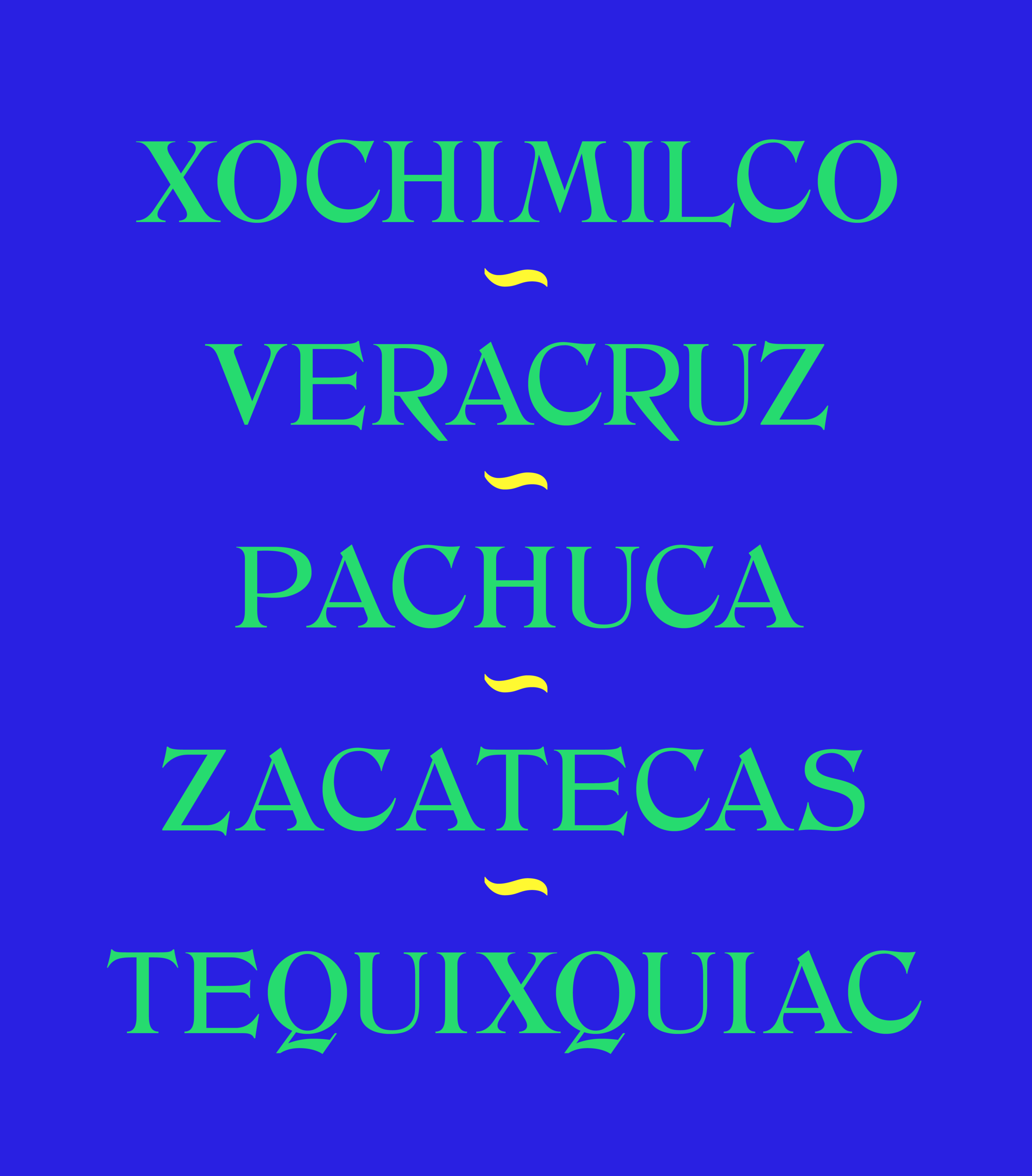 Post , as used to depict several cities in Mexico, note how the tail in both Q and R add a nice grounding flair to balance the robust vertical stress in the uppercase set.