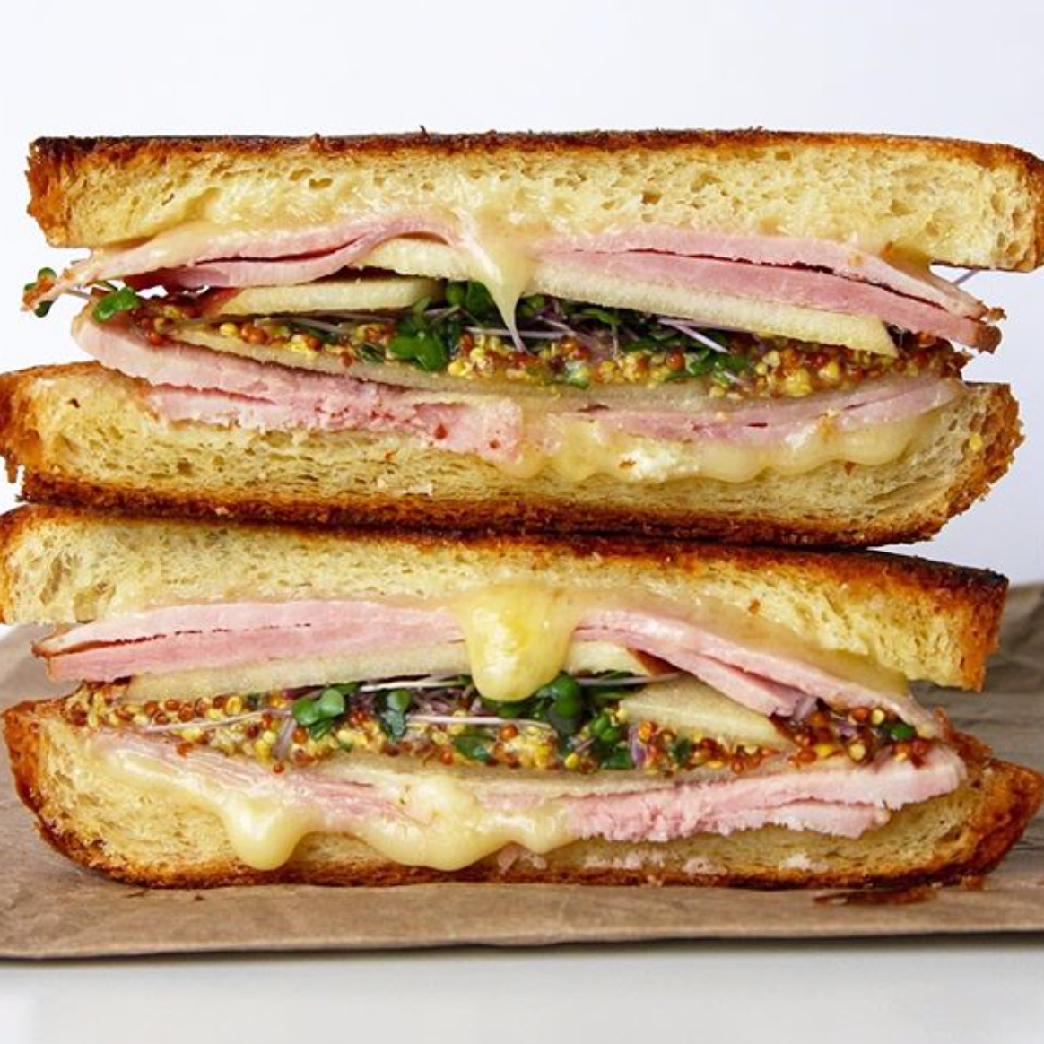Grilled Ham & Brie with Microgreens -