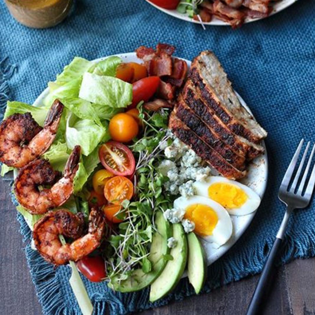 Blackened Shrimp & Chicken Cobb Salad -