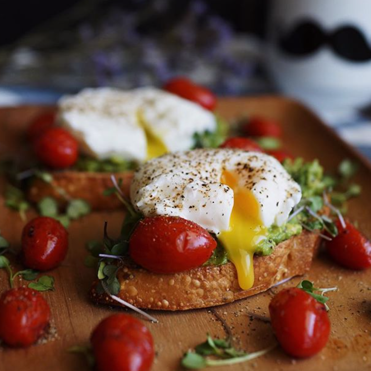 Poached Eggs with Tomato, Avocado & Microgreens -