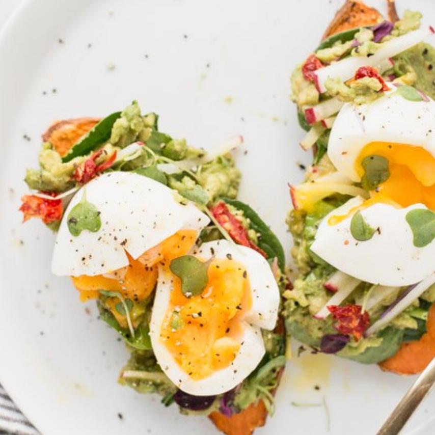 Sweet Potato Toast with Eggs & Microgreens -